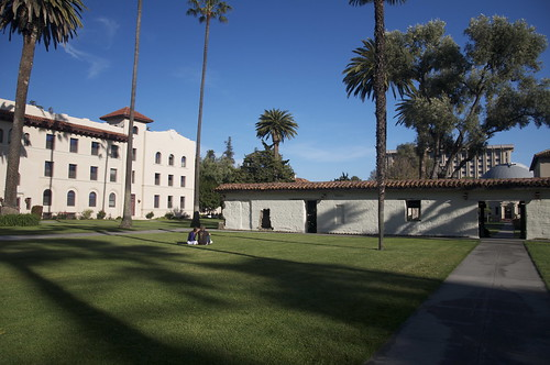 Santa Clara University campus with a portion of the old Padres living quarters in the quadrangle.