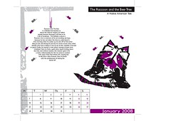 The raccoon and the beehive (January) (chinaka) Tags: typography purple calendar bs bees type 2008 fonts raccon tyography