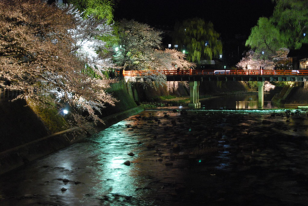 El río Miyagawa de noche