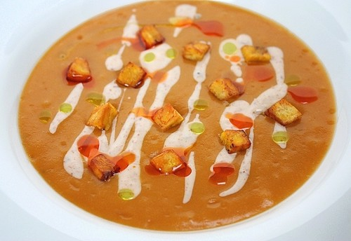 sweet potato soup, plantain soup, mesa grill soup