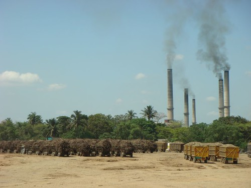 Sugar cane truck and the sugar factory. Veracruz State, Mexico.