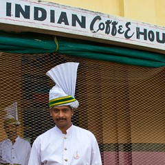 Indian Coffee House (timtom.ch) Tags: india man net hat fan uniform indian towel kerala moustache waiter trivandrum starch thiruvananthapuram indiancoffeehouse vellibeach