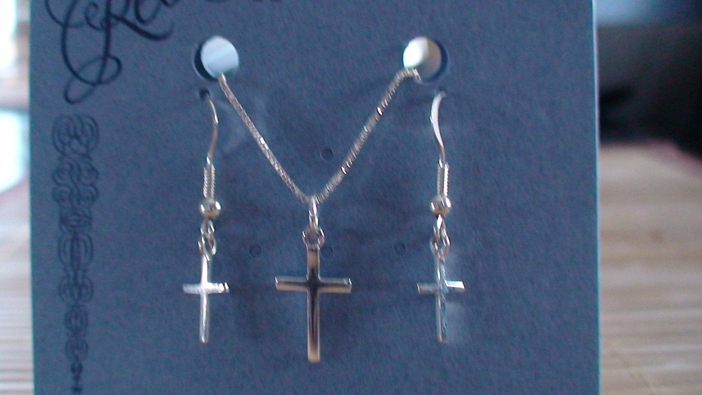 Cross Charm Earring and Necklace Set