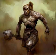 URgh_Warror (Paulos Varrus) Tags: male hammer dwarf earth human primal barbarian genasi