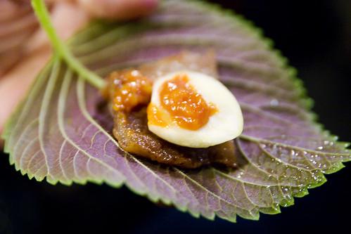 pork, garlic and sesame leaf