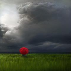 Under my Red Umbrella (Carlos Gotay Martnez) Tags: light shadow red sea sky storm field grass clouds umbrella superaplus aplusphoto