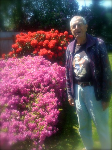 Rudy with his azalea and rhodie
