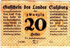 Salzburg, 20 heller, 1919 (Iliazd) Tags: old money klemens germany austria sterreich heller token 1920 autriche brosch notgeld papermoney notaphily sterreichisches paranumismatica germaninflationarycurrency germanpapermoney