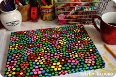 WIP Fill this Canvas with Circles (eklektick) Tags: pink flowers blue orange black green yellow painting acrylic circles canvas stems hotpink eklektick inspiredbymywreckthisjournal