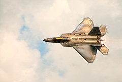 F-22 Raptor Pass (clydeorama) Tags: sky usa cloud plane airplane golden fly flying md andrews aircraft airshow demonstration raptor f22 airforce usaf 2009 vapor afb airforcebase airdisplay unitedstatesairforce afterburner jsoh andrewsairforcebase andrewsafb jointservicesopenhouse