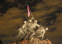 USMC Iwo Jima War Memorial at Night, World War II, Veteran Soldiers, American Flag (Beverly & Pack) Tags: 2 two sculpture usa holiday history statue usmc night clouds arlington dark inmemory soldier lite lights evening us marine memorial war unitedstates vet flag military cemetary navy scenic victory v national ii american corps warrior sailor ww remembrance independence veteran usn worldwar iwojima veterans armedforces vets