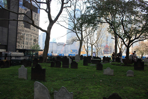 Cemetery in the shadow of where the World Trade Centers once stood