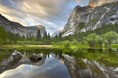 Yosemite Reflections #1 - Mirror Lake (PatrickSmithPhotography) Tags: california travel sunset wallpaper vacation sky usa reflection art nature grass rock canon landscape geotagged paradise mirrorlake sierra yosemite granite halfdome 5d watkins mkii