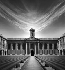 The Path to Knowledge (Ben Heine) Tags: greatbritain travel light wild england blackandwhite bw sun building art nature students monochrome grass smart architecture clouds composition print landscape photography mirror university poem photographie time noiretblanc geometry pat
