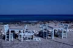 get up! summer is here!! (Anna Galanou) Tags: blue sea beach island chairs crete tables   chrysi  annagal    annagalanou    wwwannagalanoucom