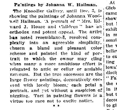 Reseña de una exposición de la autora en el New York Times de 27 de noviembre de 1921.