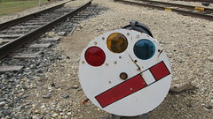 Mechanical semaphore dwarf target signal. The Illinois Railway Museum. Friday, July 3rd 2009.