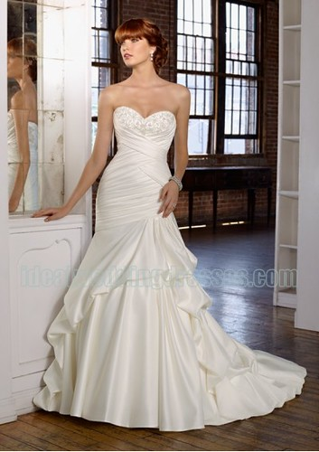 Satin Strapless Sweetheart Neckline with Cross Criss Pleats and Slight Trumpet Pick up Skirt 2011 Zipper Wedding Dresses WL-0114