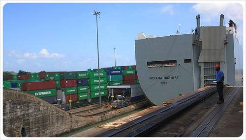 Gatun locks with container ship