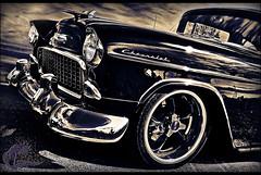 Double Nickel (ilandman4evr) Tags: blackandwhite bw white black reflection classic cars chevrolet belair 1955 nikon details chevy chrome hotrod rod custom coupe v8 carshow hotrods 18200mm 55chevy worldcars d7000 ilandman4evr