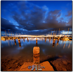 Welcome to the Pillar Party (Ryan Eng) Tags: sky clouds hawaii oahu honolulu frontpage dri sigma1020mm postsunset nightexposures smoothwater explore7 nikond90 vertorama ryaneng keehiboatharbor
