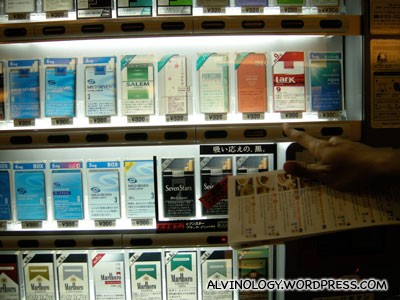 Lots of cigarette brands in Japan - and they can be bought from vending machines
