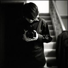 man in black (gorbot.) Tags: selfportrait 6x6 home me self mediumformat mirror ilfordhp5 ayr hasselblad500cm epsonv700 ilfotechc carlzeiss80mmplanarf28