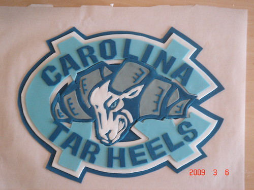 Carolina Tarheels 2D fondant work