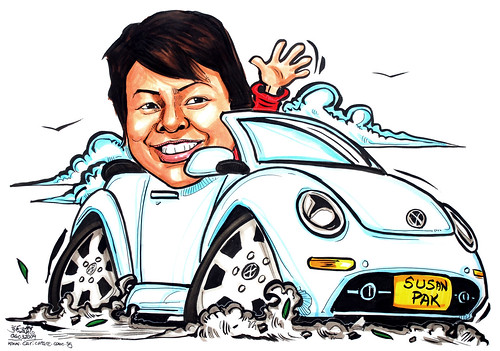 lady caricature on white convertible Volkswagen Beetle