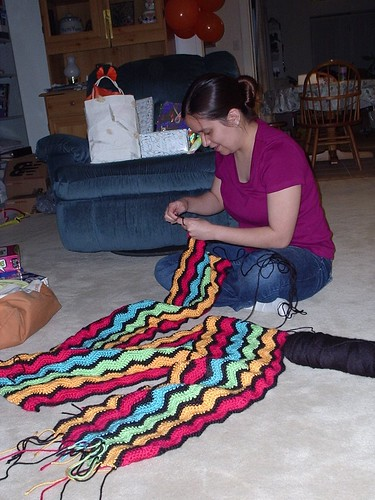 Katie Works On Her Afghan
