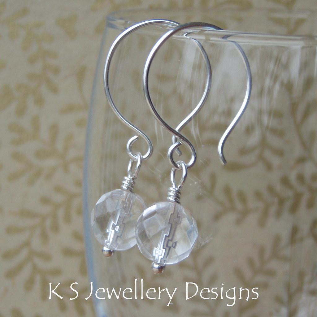 Rock Crystal Quartz Sterling Silver Hoop Earrings (KS8)