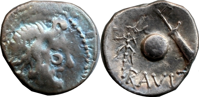 Imitative Eraviscan-393-05105-31 Jupiter Globe rudder sceptre Danube Denarius