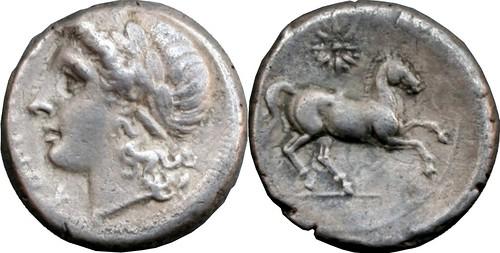 15/1 #0649-70 Pre-den Apollo Horse star Didrachm