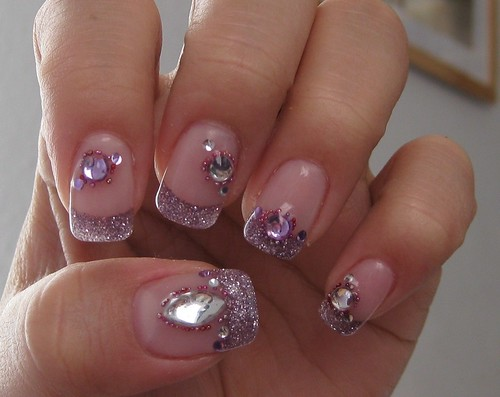 Nail art - Purple Powder with Rhinestones | Flickr - Photo Sharing