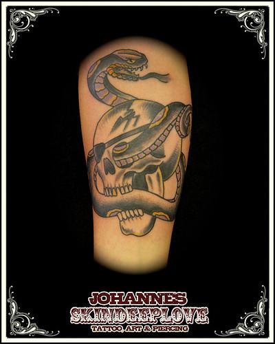 old school snake n skull tattooed by johannes skindeeplove,