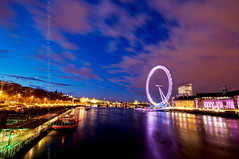 (Claire Hutton) Tags: uk longexposure blue sunset england colour london eye water westminster wheel millenniumwheel night clouds river dark lights movement twilight smooth londoneye wideangle slowshutter bluehour riverthames whitehall silky countyhall westminsterbridge slowshutterspeed shellbuilding