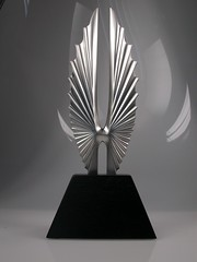 The new GLAAD Media Awards Statuette which was unveiled at the New York event, designed by Society Awards