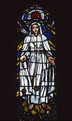 Our Lady of Fatima (Aidan McRae Thomson) Tags: irish window shropshire stainedglass whitchurch patrickpollen