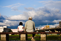 grandpa and me (summerrunner) Tags: city bridge sky people cloud kid spring nikon snapshot taiwan adobe april taipei nikkor 2009 生活 lightroom d80 55~200mm