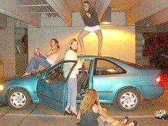 girls on car (footfreak101) Tags: girls cars feet fetish walking high jumping women top bare arches crushing barefoot heels females stomping trample trampling destroying denting