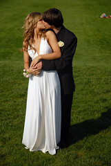 amanda and james (jennica.abrams) Tags: park flowers boy woman man girl grass photography kissing dress hill sunny suit holdinghands embrace corsage forestpark jennicaabrams