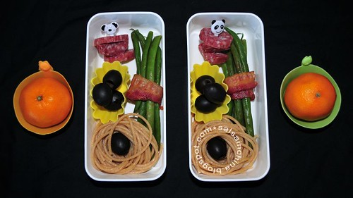 Salami chunks & bacon-wrapped green beens