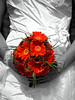 orange flowers white flowers orange bouquet white bouquet orange dress white dress orange wedding dress white wedding dress photo