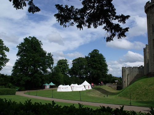 Warwick Castle, Warwick - moat and tent