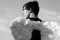 Maikel and his wings ;) (MARJOLEINTHIJSE.com) Tags: boy sky man holland guy netherlands rock angel wings utrecht emotion religion emo dude indie houten
