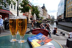 for relaxing times..... (dwayne miras) Tags: beer denmark photography canal cerveza planet lonely birra carlsberg dinamarca arhus