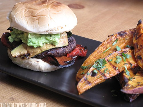 Portobello Burger with Sweet Potato Wedges