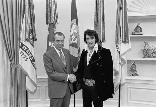 Richard M. Nixon and Elvis Presley at the White House, 12/21/1970, by White House Photo Office, Nati