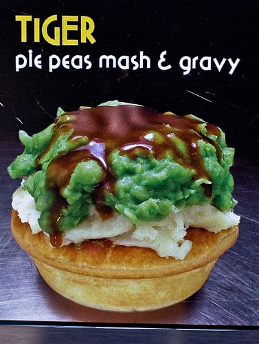 Harry's Cafe de Wheels 'Tiger' pie floater with peas, mash and gravy by you.
