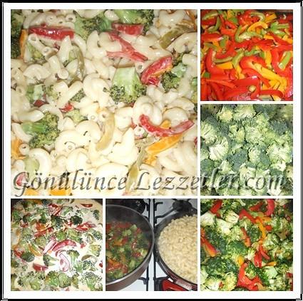 brokolili,biberli ve kremalı makarna